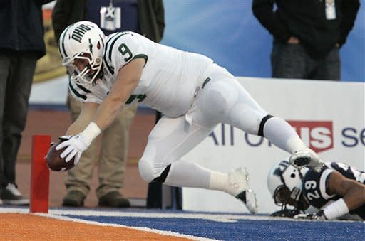 Ohio beats Utah State 24-23 in Potato Bowl