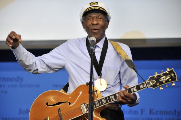 "FILE - This Feb. 26, 2012 file photo, musician Chuck Berry plays ""Johnny B. Goode"" at the John F. Kennedy Presidential Library and Museum in Boston. Berry will be honored this fall by the Rock and Roll Hall of Fame as part of its American Music Masters series. (AP Photo/Josh Reynolds, File)"