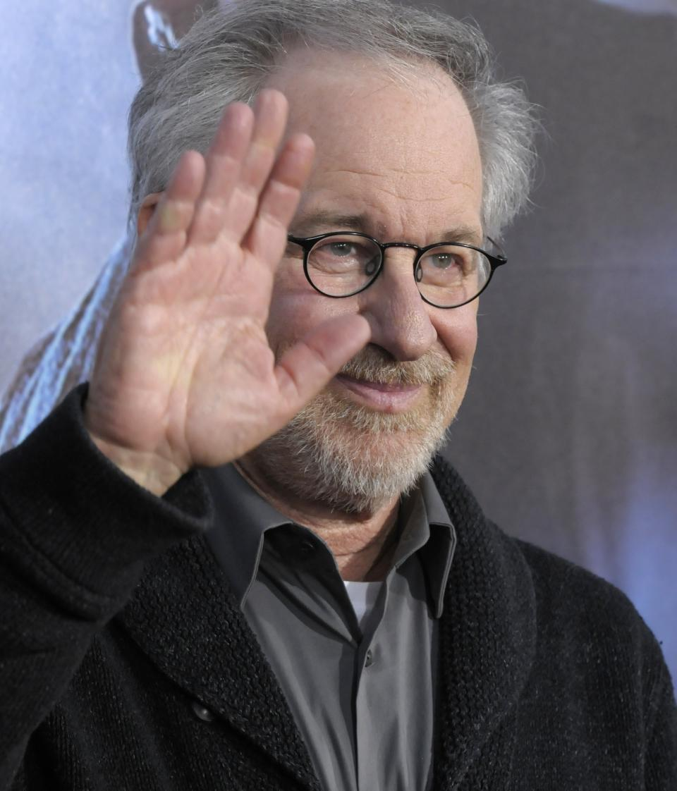 "Director Steven Spielberg arrives at the premiere of the feature film ""Cowboys and Aliens"" at Comic Con in San Diego, Calif. on Saturday, July 23, 2011. (AP Photo/Dan Steinberg)"
