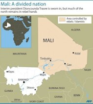 Map of Mali showing the northern half of the country controlled by Islamists and Tuareg rebels. Mali&#39;s embattled transitional government has rejected a rebel alliance&#39;s declaration of an Islamic state in the vast desert north, a move that has plunged the nation closer to breakup two months after a coup