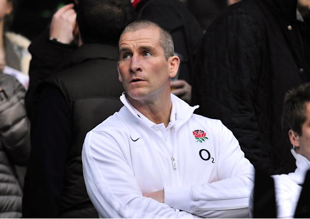 England coach Stuart Lancaster looks on before the Six Nations International rugby union match between England and Ireland at Twickenham Stadium in south-west London, England, on March 17, 2012. AFP P