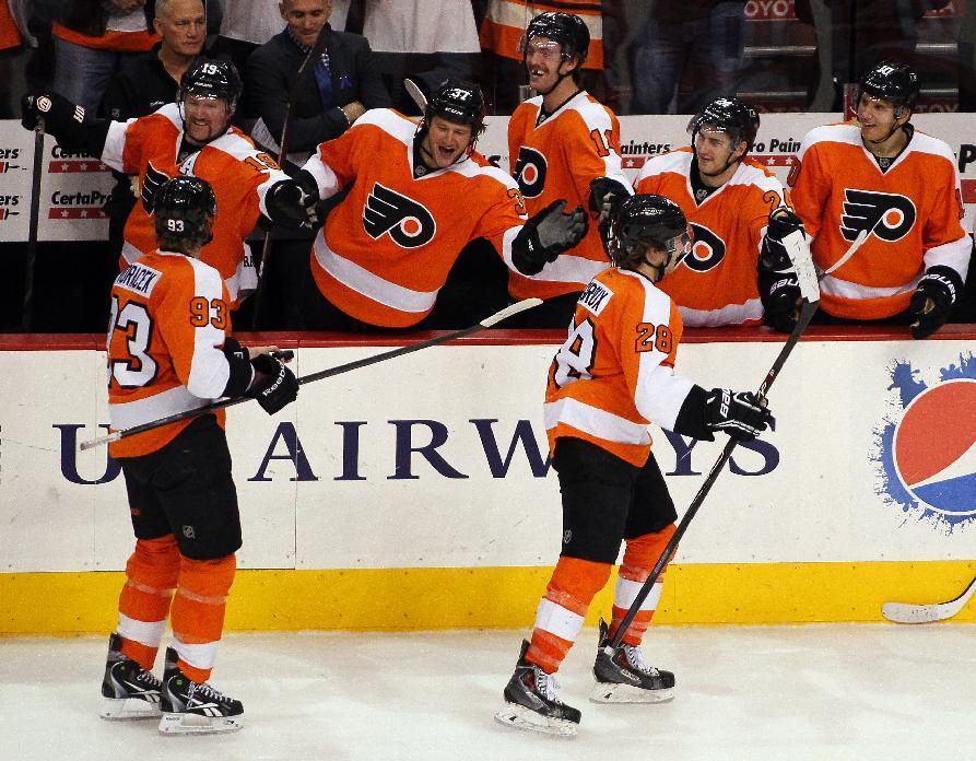 Giroux on Saturday, vs. Edmonton, after scoring his first goal of the season