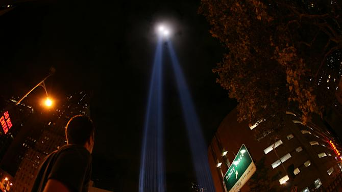 """This undated image released by PBS shows beams of light rising above lower Manhattan forming the Tribute in Light memorial from the documentary """"The City Dark,"""" airing July 5 at 10 p.m. on PBS stations. (AP Photo/PBS)"""