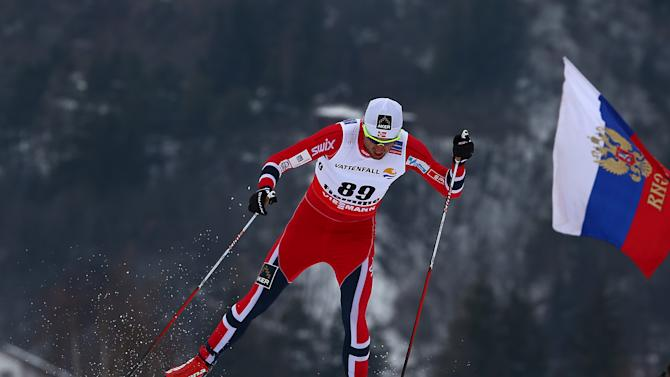 Petter jr. Northug of Norway competes during the men's 15 km Free Individual cross country competition of the Nordic Ski World Championships in Val di Fiemme, Italy, Wednesday, Feb. 27, 2013. (AP Photo/Giovanni Auletta)