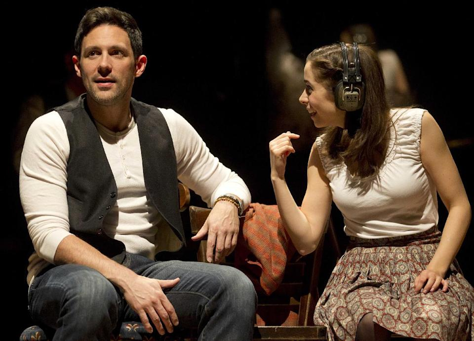 "In this theater image released by Boneau/Bryan-Brown, Steve Kazee, left, and Cristin Milioti are shown in a scene from ""Once,"" in New York.  (AP Photo/Boneau/Bryan-Brown, Joan Marcus)"