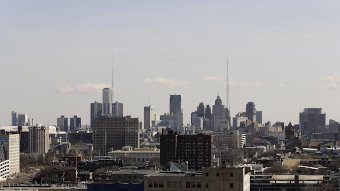 The skyline of the city of Detroit is shown Thursday, March 14, 2013. Gov. Rick Snyder announced that he has chosen Kevyn Orr, a partner in the Cleveland-based law and restructuring Jones Day firm, as Detroit's emergency manager. Snyder's already declared a financial emergency in Detroit, saying local officials lacked a plan to solve it. The move makes Detroit the largest city in the U.S. to have its finances placed under state control. (AP Photo/Paul Sancya)