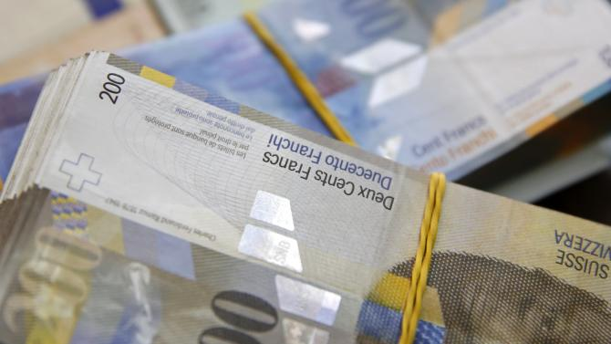 Swiss Franc and Euro banknotes in central Bosnian town of Zenica