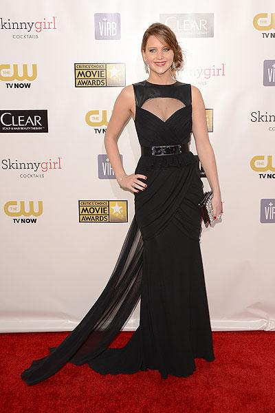 Jennifer Lawrence: She just earned her second Oscar nomination (Best Actress for 'Silver Linings Playbook') so why is Lawrence dressing as if she's going to a stylish funeral? The black Prabal Gurung gown is too sober which may be why there is a gigantic keyhole cutout. Va va voom? (Photo by Jason Merritt/Getty Images)