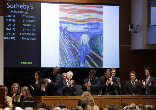 Edvard Munch's &quot;The Scream&quot; is auctioned at Sotheby's  Wednesday, May 2, 2012, in New York. The image is one of four versions created by the Norwegian expressionist painter. Three are in Norwegian mus