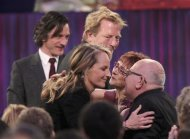 "Actress Helen Hunt is congratulated for winning the award for best supporting female for her film ""The Sessions"" at the 2013 Film Independent Spirit Awards in Santa Monica, California February 23, 2013. REUTERS/David McNew"