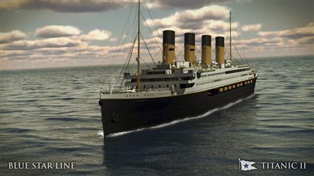 An undated artist's rendering of the proposed cruise ship Titanic II, provided by the Blue Star Line as Australian billionaire Clive Palmer unveiled plans for his dream ship during a news conference in New York February 26, 2013. REUTERS/Blue Star Line/Handout