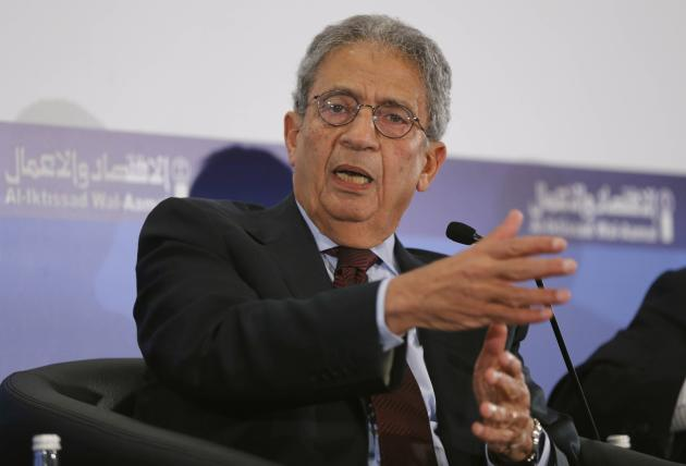 Amr Moussa, former Secretary-General of the Arab League speaks during the third Lebanon Economic Forum in Beirut