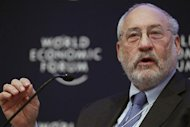 Columbia University Professor Stiglitz attends a session at the World Economic Forum in Davos