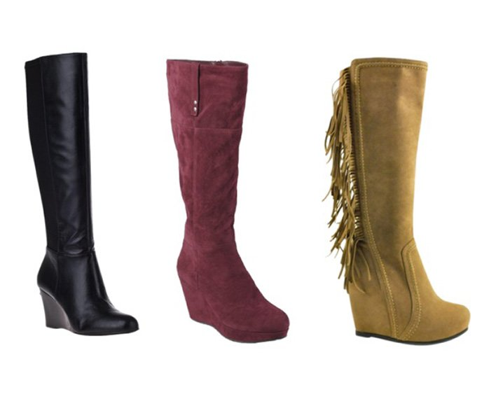 Knee-high wedge boots elongate your legs because they hit at the narrowest point. Plus, the wedge makes them more comfortable. From left: Michael Kors, $250; Target, $50; Bakers, $99.