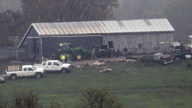Investigators walk around a barn as carcasses lay on the ground at The Muskingum County Animal Farm Wednesday, Oct. 19, 2011, in Zanesville, Ohio. Police with assault rifles stalked a mountain lion, grizzly bear and monkey still on the loose after authorities said their owner apparently freed dozens of wild animals and then killed himself. (AP Photo/Tony Dejak)