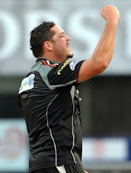 New Zeland cricketer Jesse Ryder celebrates taking a wicket for Pune Warriors against Delhi Daredevils, on April 17, 2011. Ryder was attacked by a group of men as he left a bar in the South Island city of Christchurch early Thursday, and was rushed to hospital in a critical condition where he was placed in an induced coma