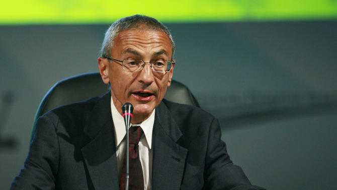 FILE - In this Monday, Aug. 10, 2009, file photo, Center for American Progress Action Fund President & CEO John Podesta speaks at the National Clean Energy Summit 2.0, at The Cox Pavillion in Las Vegas. Podesta, a former chief of staff to President Bill Clinton and a trusted Democratic operative, will join the White House staff as a senior counselor to President Barack Obama, two persons familiar with the move said late Monday, Dec. 9, 2013. (AP Photo/Eric Jamison, File)