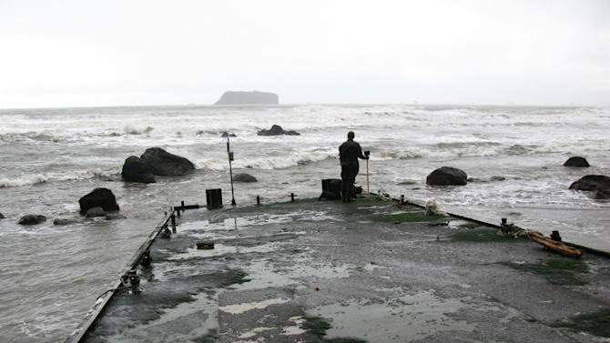 A member of the Washington tsunami debris experts team stands on a dock Friday Dec. 21, 2012 that apparently floated from Japan after last year's tsunami and just washed ashore on a Washington beach near Forks Tuesday. (AP Photo/Washington Dept. of Fish & Wildlife)