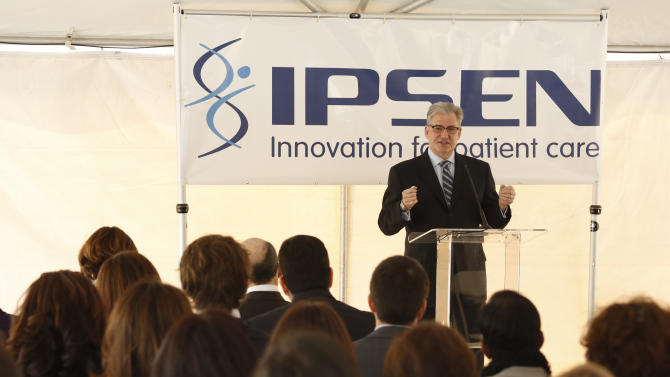 COMMERCIAL IMAGE - In this photograph taken by AP Images for Ipsen, President and General Manager Ipsen North America Sean McKercher speaks at the Ipsen US headquarters ribbon-cutting ceremony in Basking Ridge, N.J., on Wednesday, April 25, 2012. (Charles Sykes/ AP Images for Ipsen)