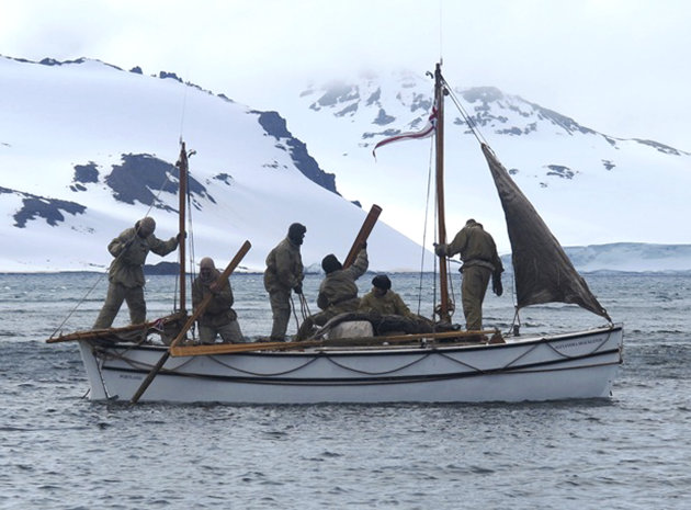 "In this Jan. 23, 2013 photo released by Shackleton Epic, adventurers aboard their boat Alexander Shackleton leave Elephant Island. A modern-day team of six led by Tim Jarvis and Barry ""Baz"" Gray used"