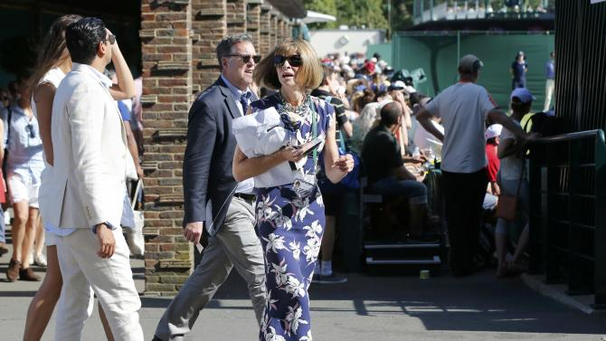 Editor of American Vogue Anna Wintour walks at the Wimbledon Tennis Championships in London