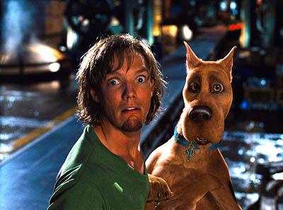 Matthew Lillard as Shaggy with his best pal Scooby Dooby Doo in Warner Brothers' Scooby Doo
