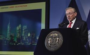World Trade Center developer Larry Silverstein speaks at an event to update the public on the pace of development at the site in New York