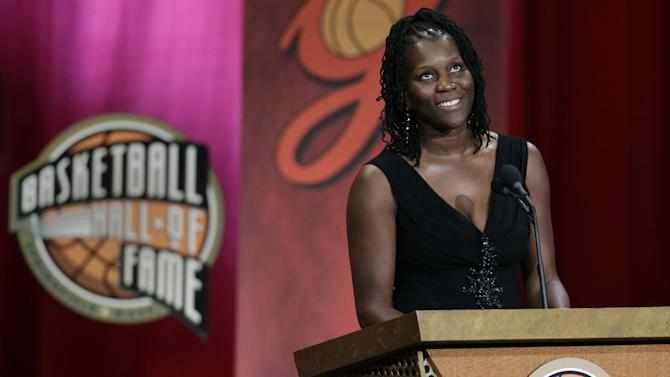 Inductee Katrina McClain, a two-time Olympic gold medalist, speaks during the enshrinement ceremony for the 2012 class of the Naismith Memorial Basketball Hall of Fame at Symphony Hall in Springfield, Mass. Friday, Sept. 7, 2012. (AP Photo/Elise Amendola)