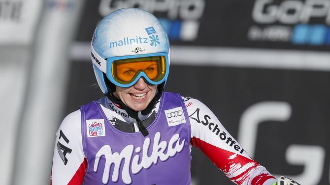 Sterz of Austria reacts after the first training of the women's World Cup Downhill skiing race in Val d'Isere