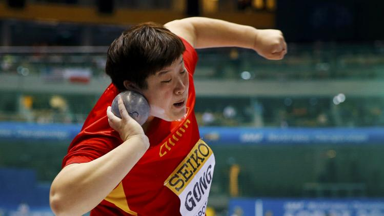 Gong of China competes during the women's shot put final at the world indoor athletics championships at the ERGO Arena in Sopot