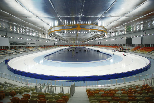 FOR STORY RUSSIA SOCHI YEAR TO GO - In this photo dated Wednesday, Jan. 30, 2013,  The  inside view of the Adler-arena speed skating venue at the Russian Black Sea resort of Sochi, with just one year