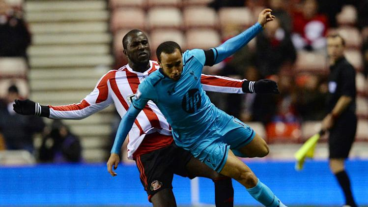 Sunderland's Altidore challenges Tottenham Hotspur's Townsend during their English Premier League soccer match at the Stadium of Light in Sunderland
