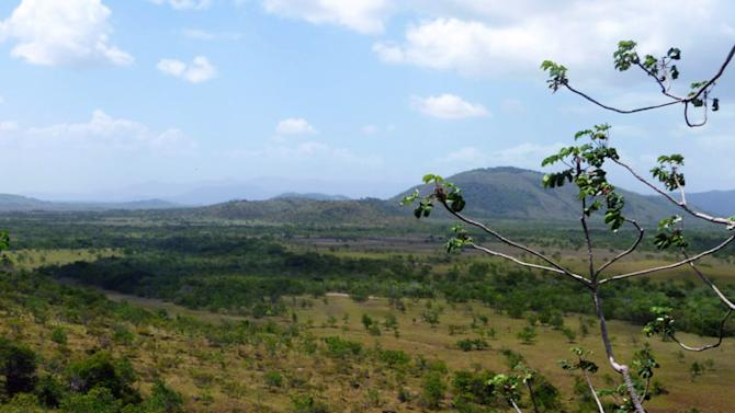In this photo released by the New York-based conservation group Panthera, the flat grass shrub savannas interrupted by creeks, bush islands, rocky hills and stand-alone mountains of GuyanaÌs South Rupununi landscape, is photographed from Dadanawa Ranch in 2012. The lushly forested nation of Guyana on Thursday, Jan. 24, 2013 joined a regional pact to protect jaguars, the elusive spotted cat that is the biggest land predator in the Americas but is vulnerable due to expanded agriculture and mining that carves away at their fragmented habitat. (AP Photo/Panthera, Evi Paemelaere)