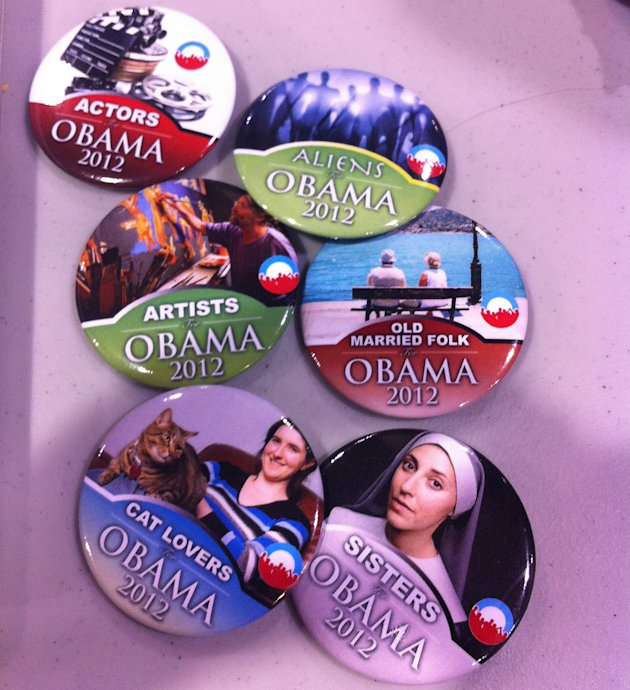 "Obama campaign buttons micro-target nuns, space aliens, cat lovers and ""old married folk"" at a stand in the arena at the Democratic National Convention on Wednesday, Sept. 5, 2012. (Jennie Josephson/Y"