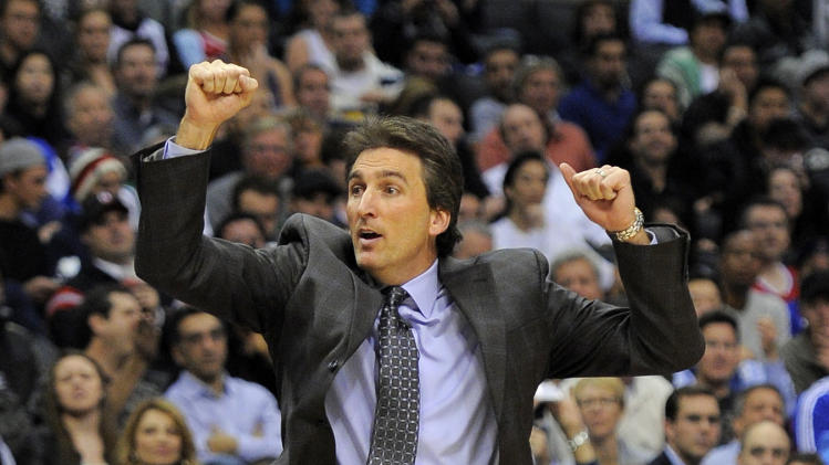 Los Angeles Clippers head coach Vinny Del Negro reacts during the second half of their NBA basketball game against the Dallas Mavericks, Wednesday, Jan. 18, 2012, in Los Angeles. The Clippers won 91-89.  (AP Photo/Mark J. Terrill)