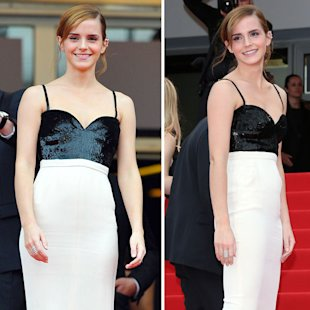 The Bling Ring star's dress featured a sweetheart neck and white fitted lower half [Rex/WENN]