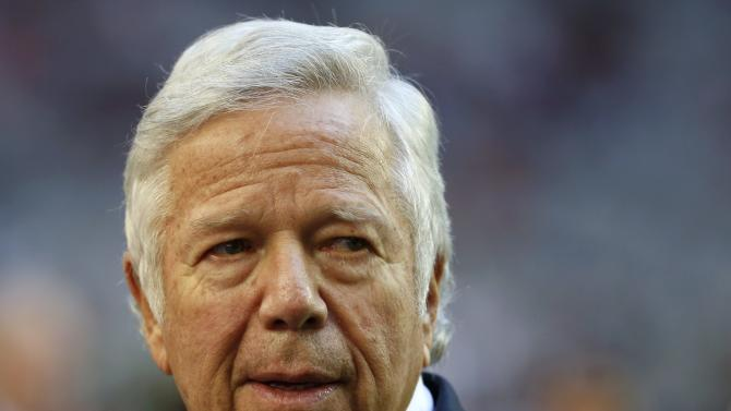 New England Patriots owner Robert Kraft looks on during activities held before the start of the NFL Super Bowl XLIX football game against the Seattle Seahawks in Glendale