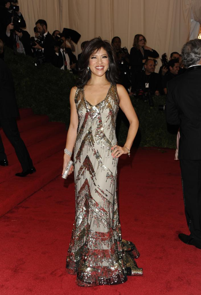 Julie Chen arrives at the Metropolitan Museum of Art Costume Institute gala benefit, celebrating Elsa Schiaparelli and Miuccia Prada, Monday, May 7, 2012 in New York. (AP Photo/Evan Agostini)