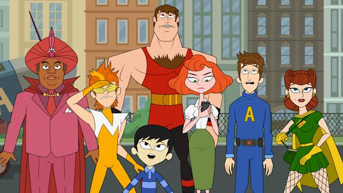 "This publicity image released by Hulu shows characters from the animated series ""The Awesomes,"" from left, Impresario, voiced by Kenan Thompson, Frantic, voiced by Taran Killam, Tim, a.k.a. Sumo, voiced by Bobby Lee, foreground, Muscleman, voiced by Ike Barinholtz, Concierge, voiced by Emily Spivey, Prock, voiced by Seth Meyers and Gadget Gal, voiced by Paula Pell, The animated series premieres Aug. 1, on Hulu. (AP Photo/Hulu)"
