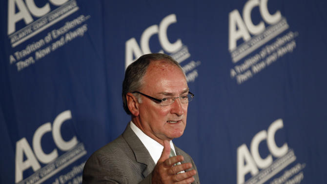 Notre Dame athletic director Jack Swarbrick speaks during a news conference at the University of North Carolina in Chapel Hill, N.C., Wednesday, Sept. 12, 2012. Notre Dame is moving to the Atlantic Coast Conference _ yet keeping its football independence. The school will play five football games annually against the league's programs, but will be a full member in all other sports. The Irish will have access to the ACC's non-BCS bowl tie-ins. (AP Photo/Gerry Broome)
