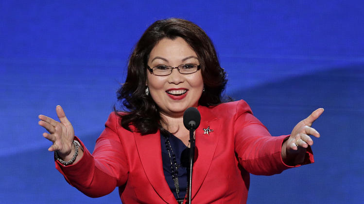 Former Assistant Secretary, U.S. Department of Veterans Affairs Tammy Duckworth addresses the Democratic National Convention in Charlotte, N.C., on Tuesday, Sept. 4, 2012. (AP Photo/J. Scott Applewhite)
