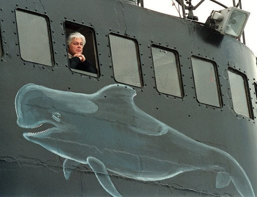 Paul Watson is seen on board of his ship, the Ocean Warrior in 2000