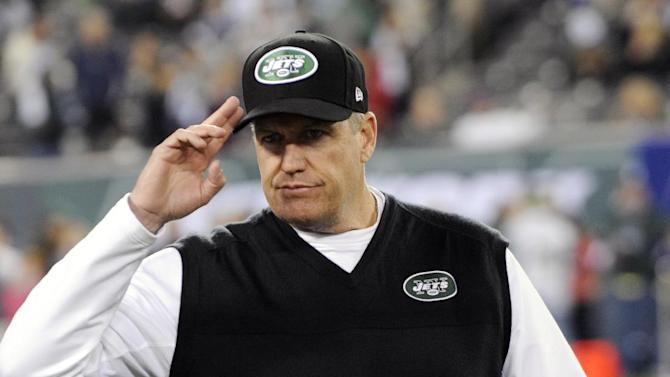 New York Jets head coach Rex Ryan gestures before an NFL football game against the New England Patriots, Thursday, Nov. 22, 2012, in East Rutherford, N.J. (AP Photo/Bill Kostroun)