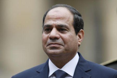 Egyptian President Abdel Fattah al-Sisi attends a military ceremony in the courtyard of the Invalides in Paris
