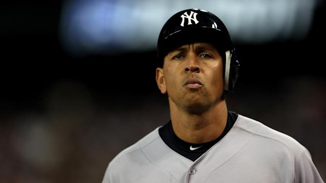 DETROIT, MI - OCTOBER 18:  Alex Rodriguez #13 of the New York Yankees walsk off the field back to the dugout after he grounded out in the top of the 9th inning against the Detroit Tigers during game four of the American League Championship Series at Comerica Park on October 18, 2012 in Detroit, Michigan.  (Photo by Jonathan Daniel/Getty Images)