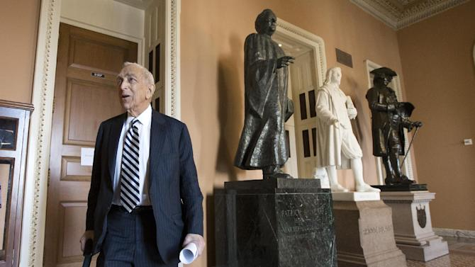 Sen. Frank Lautenberg, D-N.J. walks to the Senate floor from a Democratic caucus meeting on Capitol Hill in Washington, Thursday, Feb. 14, 2013. Lautenberg, 89, has decided not to seek re-election on order to clear the way for Democratic Newark Mayor Cory Booker to assume the spot. (AP Photo/J. Scott Applewhite)