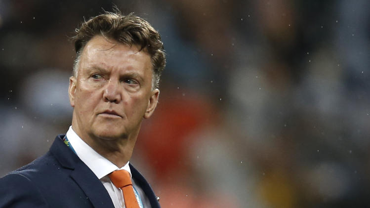Netherlands coach Louis van Gaal reacts after his team's World Cup semi-final against Argentina in Sao Paulo on July 9, 2014
