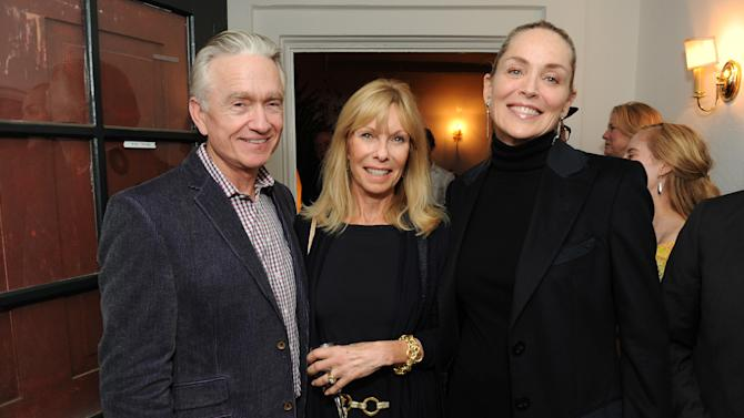 "From left, Ian Telfer, Nancy Burke and Sharon Stone attend LoveGold/EJAF Celebrate ""How to Survive a Plague"" at Chateau Marmont on February 22, 2013 in Los Angeles. (Photo by Jordan Strauss/Invision for LoveGold/AP Images)"