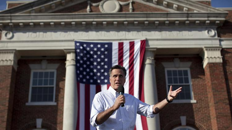 Republican presidential candidate, former Massachusetts Gov. Mitt Romney speaks during a campaign stop at William Jewell College on Tuesday, March 13, 2012, in Liberty, Mo.  (AP Photo/Evan Vucci)
