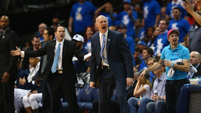 Rick Carlisle (C) of the Dallas Mavericks yells during game three of the Western Conference quarterfinals against the Houston Rockets on April 24, 2015 in Dallas, Texas